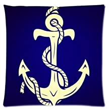 Hipster Anchor Pillowcase Zippered Pillow Case 16x16 Standard Size(Twin sides)