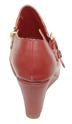 Bella Marie Sahara-27 Donna A Punta Corta Cerniera Laterale Con Zeppa E Fibbie A Doppia Fibbia Decorazione Stivaletti Bassi Alla Caviglia Rosso