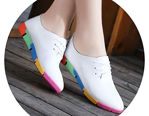2018 New Breathable Genuine Leather Flats Shoes Woman Sneakers Flats Shoes Plus Size Women Shoes,White,8.5 -