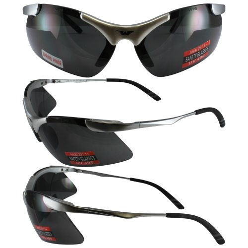 LSM Global Vision Eyewear Lightning Safety Glasses Firm Metal Frame with Smoke Lenses Meet ANSI Z87.1 Specifications