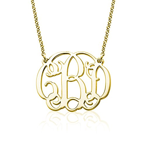AOCHEE Name Necklace Personalized 3 Initial Name Necklace Monogram Name Jewelry (Gold) (Monogram Jewelry Necklace)
