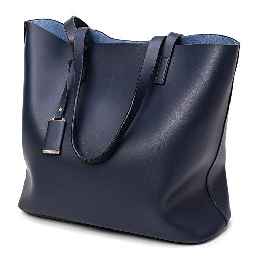 BYD Moda Mujeres PU Piel Bolso Grande Bolsos Totes Bolsa de Hombro mensajero del bolso 2 piezas Azul oscuro