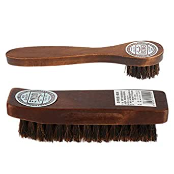 FITYLE 2x Long Wood Handle Bristle Horse Hair Brush Shoe Boot Polish Shine Cleaning