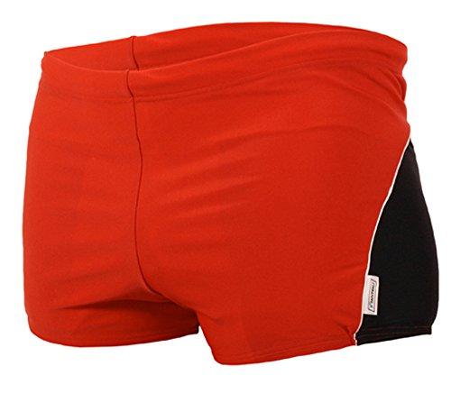 STANSK0017 STANTEKS XL schwarz-rot Herrenbadehose Boxer zweifarbig Badeshorts Herren Schwimmhose Classic Schwimmbekleidung (schwarz-rot, XL)