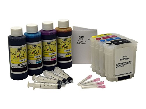 InkOwl - Refillable Cartridge Set for HP 88, 88XL + 4x120ml USA-made Ink + syringes (OfficeJet Pro K5300, K5400, K550, K8600, L7380, L7400, L7480, L7500, L7550, L7555, L7580, L7590, L7600, others)