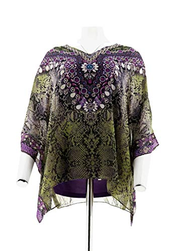 Belle Kim Gravel Jeweled Medallion Poncho Purple M New A288752 from Belle by Kim Gravel