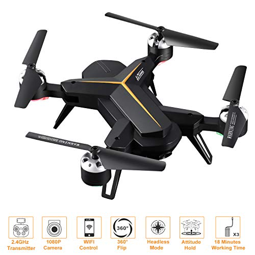 FPV Drone with Camera 1080P HD with Headless Mode Altitude Hold 3D Flip One Key Take Off/Landing/Return Voice Control 2.4Ghz 4-Axis RC Quadcopter for Kids Adults Beginners 18 Mins Long Flight Time
