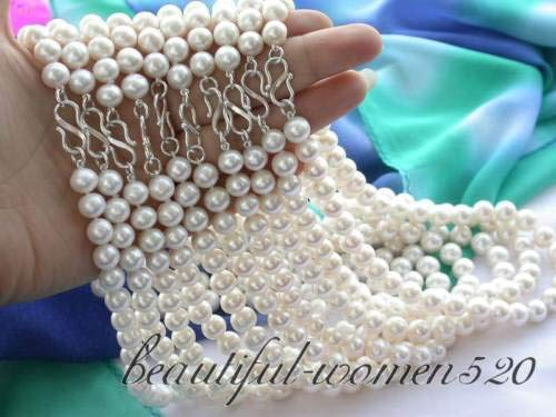 FidgetKute z3009 OH Wholesale 10ST 10mm White fw Pearl Necklace -