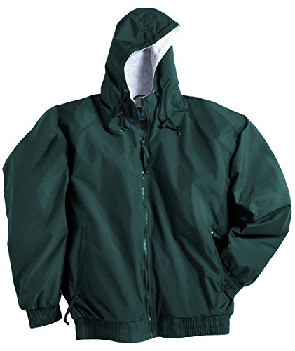 Tri-Mountain Satin Baseball Jacket with Solid Trim, 2XLT, Forest Green