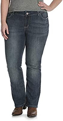 Wrangler Womens Size Plus Mid Rise Straight Jean