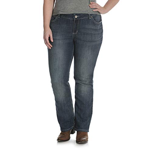 Wrangler Women's Size Plus Mid Rise Straight Jean, Medium Blue, 20WX34
