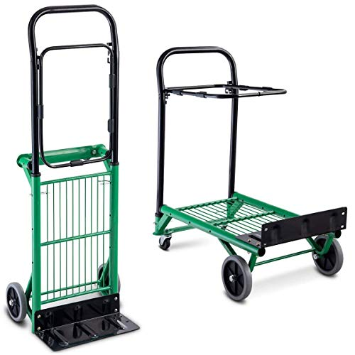 2in 1 Hand Truck - Goplus Folding Hand Truck, 2 in 1 Multi-Functional Dolly, Gardening Lawn Leaf Bag Support Platform Truck Cart, 200Lbs Load Capacity