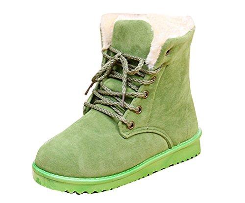 Gaorui Women Winter Warm Lace Up Faux Suede Fur Lining Flat Ankle Snow Boots Shoe Color Green dEU9V