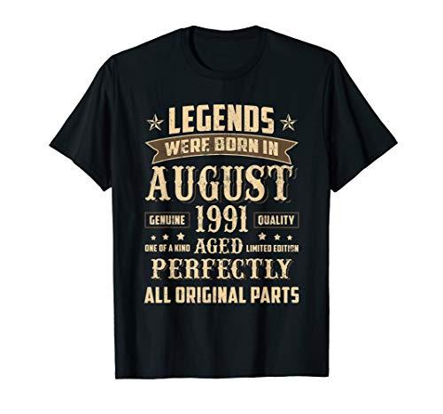August 1991 28th Birthday Gift 28 Year Old Men Women T-Shirt