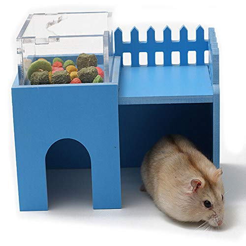 Wooden Hamster House,Hideout Hut Exercise Natural Funny Nest Toy with Dining Hall Feeder