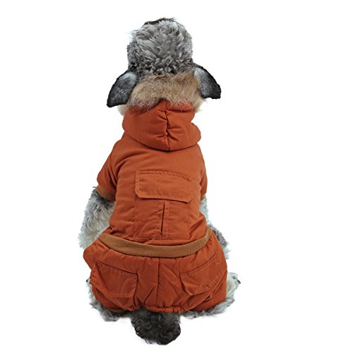 PAWZ Road Pet Clothes Hoodie Dog Winter Coat Warm Jacket Super Warm and Strong Orange S by PAWZ Road (Image #2)