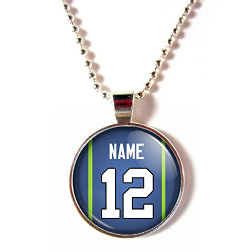 (SpotlightJewels Seattle Football Jersey Glass Dome Necklace Personalized with Name and Number, Personalize by)