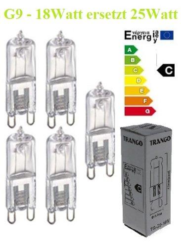Lot de 5 ampoules halog/ènes G9 /à intensit/é variable /équivalent /à 25 W 230 V - Classe defficacit/é /énerg/étique/: C 18 W