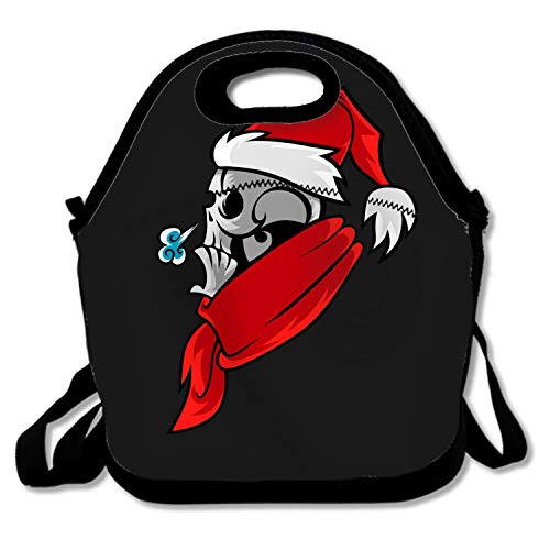 (Classic Cartoon Skull In Santa Hat Lunchbox Handbag - Easy to Carry to School, Office, Picnic)