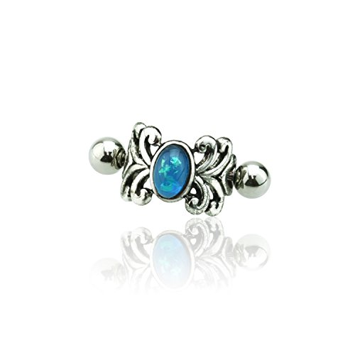 Little Aiden Glitter Opal Medieval Spiral Design Vine Cartilage Cuff Earring 316L Surgical Steel Size 16GA 1/2