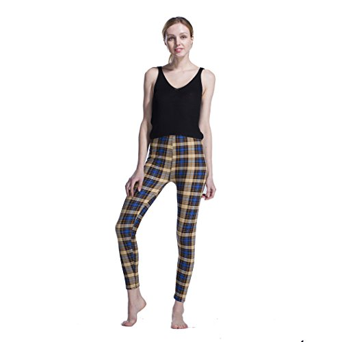 Desility 2018 Spring Summer Lady Women Vintage Pants Plaid Printed Brushed Slim Fitness Leggings Regular Size (S - XL) Yellow Plaid (Plaid Pants Womens)