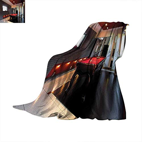 """CHASOEA Modern Custom Design Cozy Flannel Blanket House with Snooker Table Hobby Pool Game Flat Furniture Leisure Time Print Oversized Travel Throw Cover Blanket 60""""x36"""" Red Brown White"""