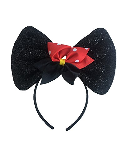 (Mickey/Minnie Mouse Style Ears Headband for Boys Girls, Parties Big Sparkling Bow Collection (Sparkling Black Minnie Mouse Style Headband w/Red Polka Dot Bow))