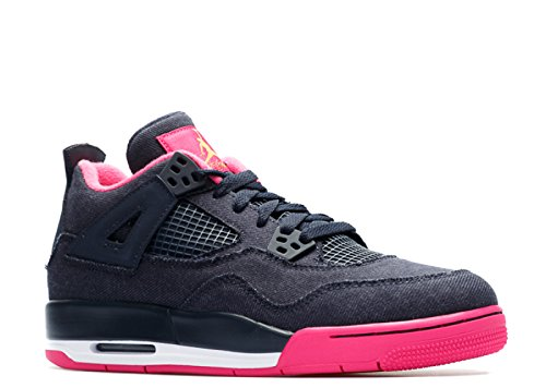 NIKE Girls Air Jordan 4 Retro GG Basketball Shoes Dark Obsidian 487724-408 (7Y)