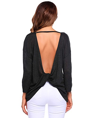 Backless Drape (Anhoney Women Sexy Backless Cross Drape Knotted Long Sleeve Loose Fit Tops)