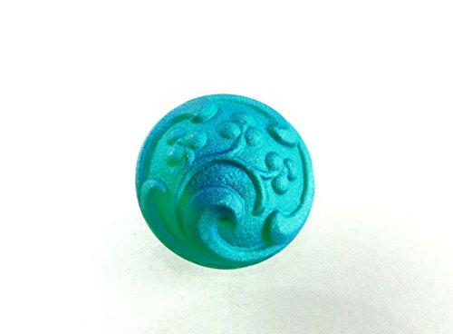 1pc Hand Made Art Czech Glass Button Emerald Matte AB Size 8, 18mm