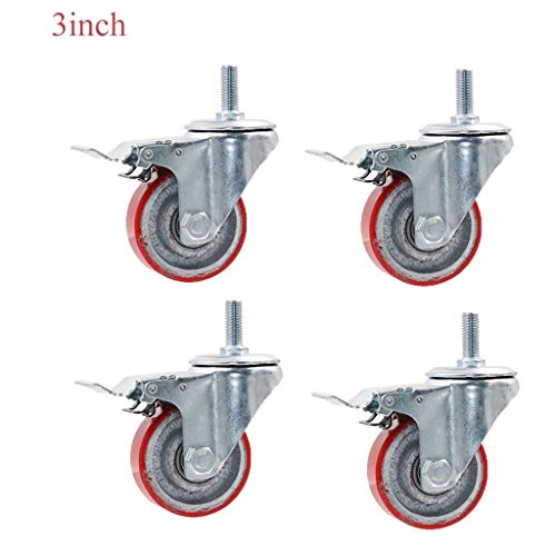 押入れ収納 ヘビーデューティユニバーサルキャスターユニバーサルブレーキキャスター3インチ(72ミリメートル)/ 4インチ(100ミリメートル)/ 5インチ(127ミリメートル)鋳鉄重工業キャスター (Quantity : 4 sticks b, Size : 3in(72mm))