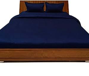 Brightlinen Navy Blue King (150 X 200 Cm) Duvet Set Fitted Sheet Solid(pocket Size: 34 Cm) 4pcs