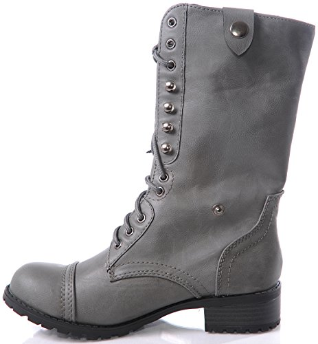 Lastest Soda DomeH Women39s Grey Combat Boot  Shiekh Shoes