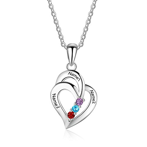 Lam Hub Fong Customized Mothers Name Necklace with 3 Simulated Birthstones Pendant Relationship Heart Name Necklace for 3 Personalized Necklace for Women ()
