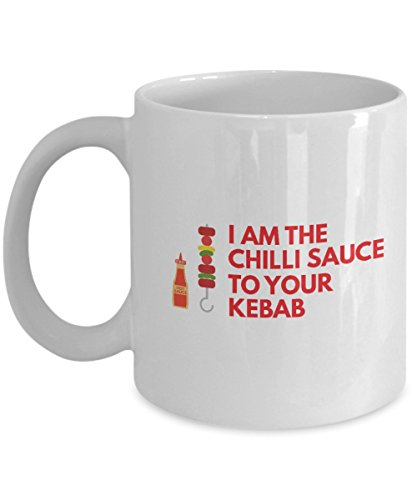 Candid Awe - Gifts For Chili Sauce Fanatics:I Am The Chilli Sauce To Your Kebab Chili Sauce, Hot Sauce, Spicy, Chili Peppers, 11oz White Mug, Ceramic Coffee Cup