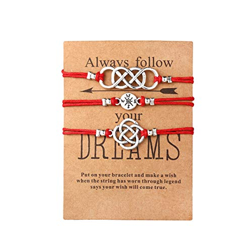 17mile 3Pcs Red Friendship Cotton Rope Bracelet Set Handmade Compass Celtic Knot Bead Adjustable with Wish Card Charm Bracelets Jewelry