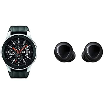 Samsung Galaxy Smartwatch (46mm) Silver (Bluetooth) – US Version with Warranty & Galaxy Buds, Bluetooth True Wireless Earbuds (Wireless Charging Case ...