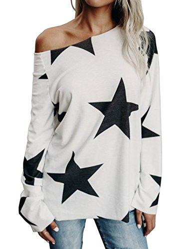 Subtle Flavor Women's Off Shoulder Belled Long Sleeve Star Print Shirts Casual Blouse Tops (Star Top)