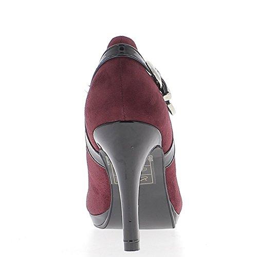 Escarpins femme prune talon fin de 9,5 cm bouts ronds patin avant bi matière