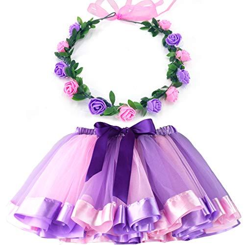MY-PRETTYGS Layered Tulle Ballet Rainbow Tutu Skirt with Flower Crown Wreath Headband (Light Purple, L,4-8T) ()
