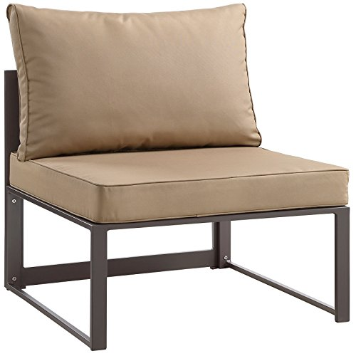 Modway Fortuna Aluminum Outdoor Patio Armless Chair in Brown Mocha