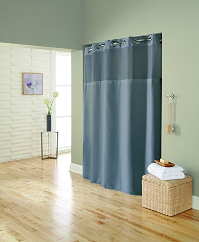 (Hookless RBH72MY890 Mystery Mini Squares Polyester with PEVA Snap-in Liner and Flex-On Rings Shower Curtain, Frost Grey)