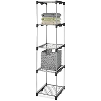 Whitmor 5 Tier Shelf Tower Closet Organizer Silver / Black