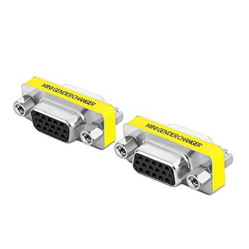 TNP HD15 SVGA Connector, Set of 2, 15 Pin Gender Changer Super VGA Coupler Female to Female DB Plug Adapter for Monitors, HDTV, Projectors, VGA Splitter, KVM switches