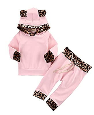 2Pcs Newborn Baby Girls Pink Long Sleeve Hoodie Sweatshirt+Pants Outfits Set
