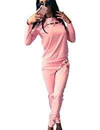 Two-Piece Jumpsuit, Women Long Sleeve Sportswear Tracksuit Sets Tops with Sweatpants