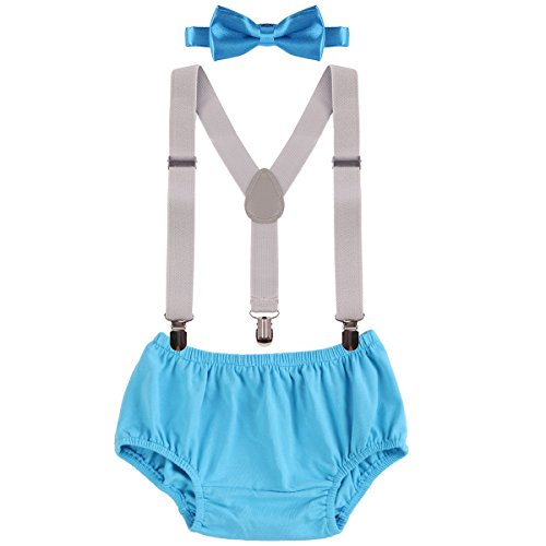 - Baby Boys First Birthday Adjustable Y Back Elastic Clip Suspenders Cake Smash Outfit Tuxedo Pre-tied Bloomers Bowtie set Photo Props Costume Clothes Blue