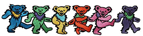 9 Inch Grateful Dead Rainbow Dancing Marching Bears Strip Logo Sew Ironed On Badge Embroidery Applique -