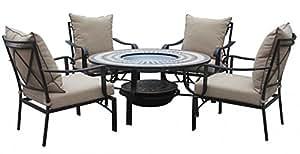 """'Mesa de jardín Set """"Barcelona 1x mesa 4x jardín Sillón U Brasero Acero envejecido Negro, muebles de balcón, jardín, Loggia, balcón, terraza, hoguera, Jardín Fuego"""