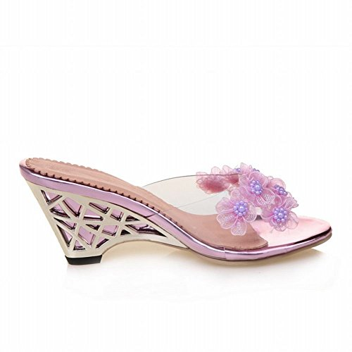 Carolbar Womens Applique Chic Night Club Party Wedges Sandals Slippers Purple 8oS93eRl